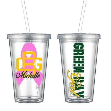 Green Bay Breast Cancer Awareness Acrylic Cup - Free Shipping