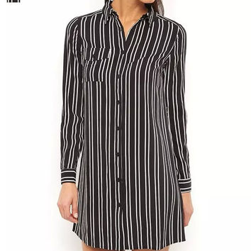 Black Vertical Stripe Long-Sleeve Button Collared Shift Dress