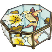 Glass Brass Display Box, Stained Glass Hummingbird, Vintage Mirrored Jewelry Box Hinged Lid, Small Tabletop Shelf Curio Display, Octagon