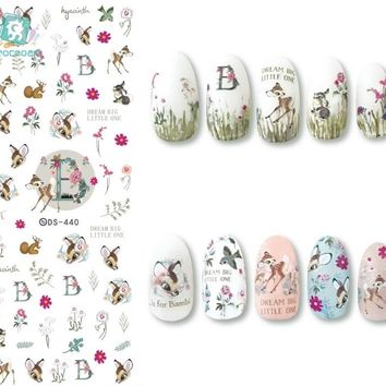 Rocooart DS440-457 New Autumn Cute Deer Flowers JESUS Banana Nails Art Sticker Harajuku Nail Wrap Sticker Tips Manicura stickers