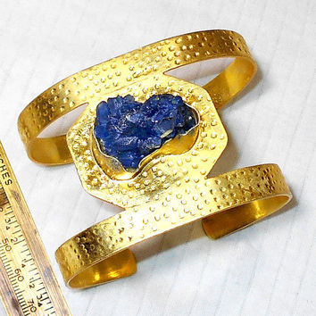 Handcrafted Bangle - Blue Sunshine Druzy Cuff - Handmade Bangle - Designer Bracelets - Brass Bangle - Hammered Bangle - Brass Cuff Bracelet