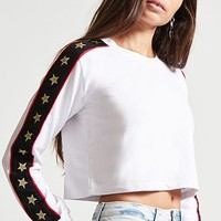 Stripe-Trim French Terry Crop Top