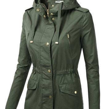 J.TOMSON Womens Trendy Military Cotton Drawstring Anorak Jacket OLIVE M