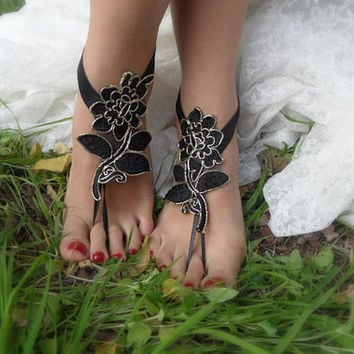 Black and gold  Barefoot Sandals, french lace, Nude shoes, Gothic, Foot jewelry,Wedding, Victorian Lace,  Belly Dance Bridal Shoes