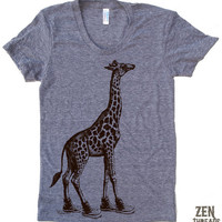 Womens GIRAFFE in High Tops american apparel T Shirt by ZenThreads