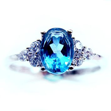 2016 Large GVBORI 925 Stering Silver Natural Topaz Gemstone Ring For Women Engagement Party Ring /gift Blue Ring Fine Jewelry