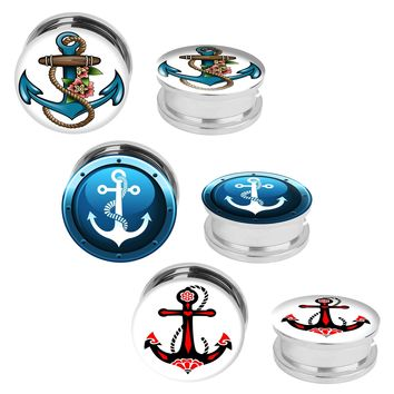 BodyJ4You 6PC Plugs Screw Fit Tunnels Nautical Anchor Kit Stainless Steel Plugs 2G-12mm