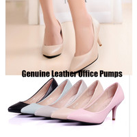 Hot Sales Full Season Daily Women Pumps  7cm High Heels Genuine Leather Classic Office Shoes Size 34-40