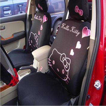 10pcs Universal Car seat Cover Pink Heart Cartoon Universal Hello Kitty Car Seat Covers Universal Car interior Accessories