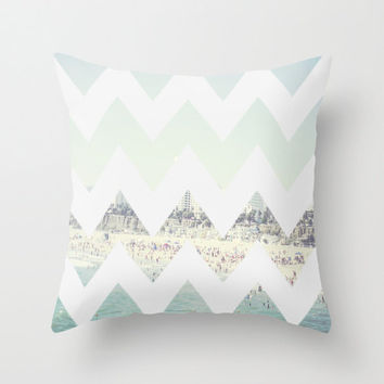 Chevron Santa Monica Pier Beach View PILLOW COVER CASE Photography Peppermint Los Angeles California Summer Travel