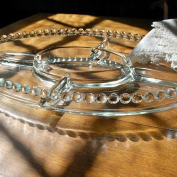 Candlewick 5 Part Oval Relish Dish, Imperial Glass Candlewick Large Oval Beaded Glass Divided Serving Dish Platter Tray, Berwick