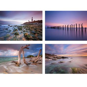 Beach Photo Set, Ocean Print Set, Four 4 Photographs, Seascape Photography, Nautical Wall Art, Lighthouse Pictures, Purple Blue Pink Decor