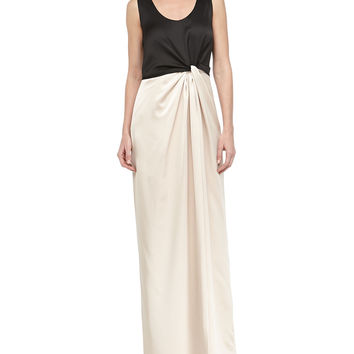 Women's Satin Combo Twist-Front Gown, Black/Champagne - Halston Heritage - Black/Champagne