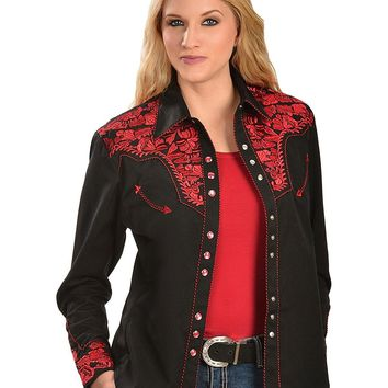 Scully Women's Floral Embroidered Blue Retro Western Shirt - Pl-654Wh