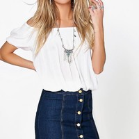 Kelly Denim Button Front Mini Skirt | Boohoo