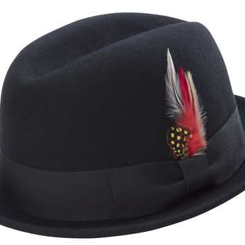 Black Men's Stingy Snap Brim Fedora Hat Hard Felt Center Crease With Feather Accent By Montique H-53