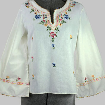 Woodstock Style Cotton Vintage Embroidered Top