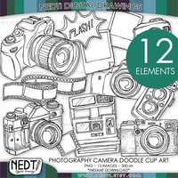 Hand Drawn Photography Camera Doodle Clip Art, Instant Download, PNG, Downloadable Clipart Image, Personal and Small Commercial OK