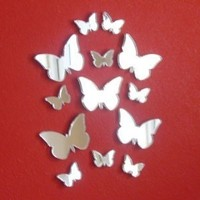 "Butterfly Big Wings Mirrors 4cm X 3cm (10 in Pack) 1.5"" x 1.2"""
