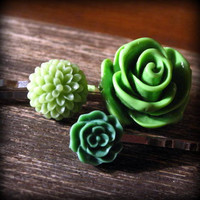 St. Patty's Day Green Flower Bobby Trio Large Rose Mini Olive by prettypleasempls