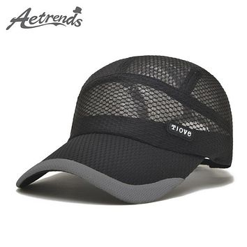 [AETRENDS] 2017 Summer Breathe Freely Mesh Baseball Cap Men Hats Bone Cap with 4 Colors Z-2656