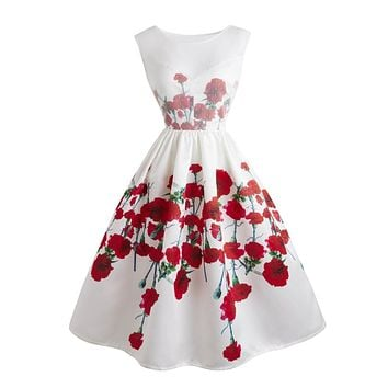 White 1950s Floral Swing Dress