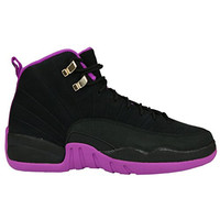 Air 12 Retro Black/Metallic Gold Star-Hyper Violet Suede Basketball Shoes Womens