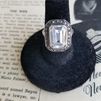 Large Art Deco Marcasite and Emerald cut Paste sterling silver ring size 6 and 1/2