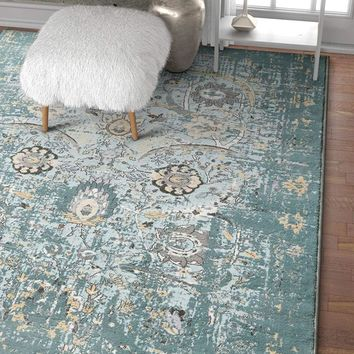 6106 Blue Thick Distressed Vintage Area Rugs