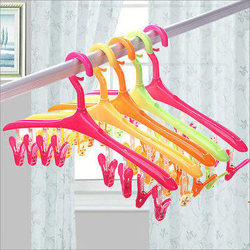 Home Travle Underwear Socks Dryer Dry Plastic Hook Rack Clothes Hanger 8 Clips