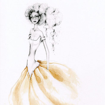 Pencil Drawing OOAK  Illustration Original Drawing Brown Gold Coffee Staining Melancholy Fashion Illustration Wall Art Unique Evocative Art