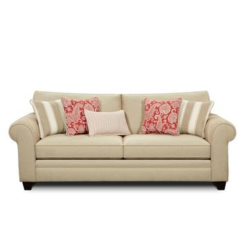 Chelsea Emilee Sofa In Shelby Jute with Bazaar Cherry/Danish Poppy/Sweden Poppy Pillows