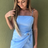 Cross My Heart Dress-  Blue