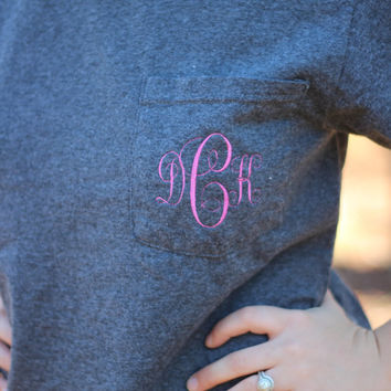 Monogram Pocket Tees, Greek Letter Embroidery Available