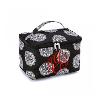 Monogrammed Cosmetic Train Case Black Medallion Maddie