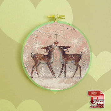 Christmas Fawns - playing with a christmas bulb on a snowy xmas morning - pdf cross stitch pattern  - INSTANT DOWNLOAD