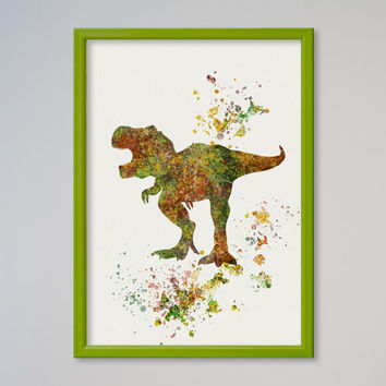 Tyrannosaurus Rex Poster Watercolor Nursery Art Print Home Decor Wall Decor Animal Art Dinosaur T-rex Children Birthday Gift Decor