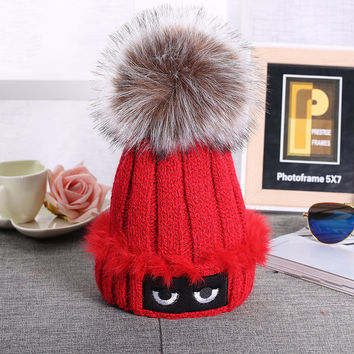 Wool Knitted Furry Ball Design Hat