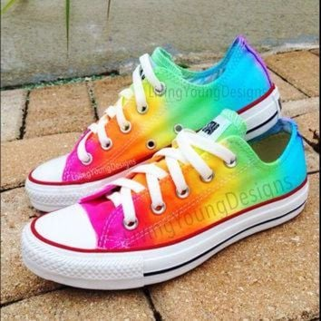 DCCKHD9 RAINBOW CONVERSE Custom Tie Dye Converse by LivingYoungDesigns