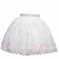 Pink Cute Cat pattern Petal Hem White Pruff Lolita Skirt