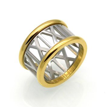 Famous Brand 12mm Wide Gold & Silver Roman Numerals Ring Wedding Date Ring Stainless Steel Luxury Jewelry Female Rings For Women