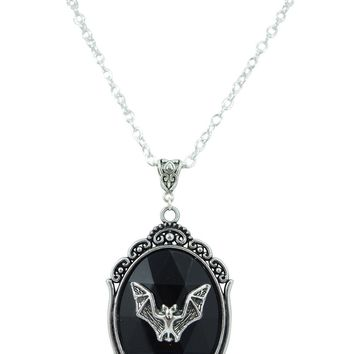 Dark Beauty Bat Cameo Black Stone Necklace