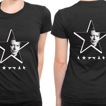 DCCKG72 David Bowie Black Star Vice 2 Sided Womens T Shirt