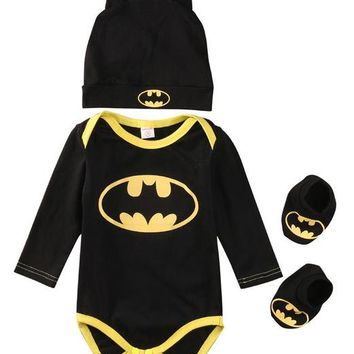 Newborn Baby Boy Clothes Baby Girl Clothing Sets Cotton Baby Romper+Shoes+Hat Toddler Outfits Infant 3Pcs Suit