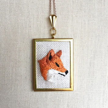 Embroidered Necklace Embroidered Red Fox Embroidery Pendant or Brooch Fox Jewelry Embroidered Pendant