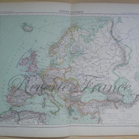 Antique Map of Europe Political  Large map of Europe 1891