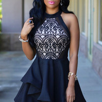 ♡  Black Lace Nude Irregular Layered Skater Dress  ♡