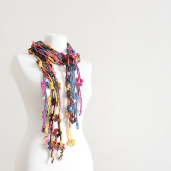 20% OFF - Today only - Code below -  Women Crochet Scarf Accessories, Floral scarf in variegated colors, Lariat scarf, Handmade