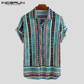 INCERUN Ethnic Style Print Men Casual Shirt Lapel Neck Streetwear Short Sleeve Tops 2019 Loose Tropical Hawaiian Shirt Men S-5XL