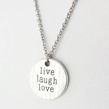 Live Laugh Love Necklace in Silver